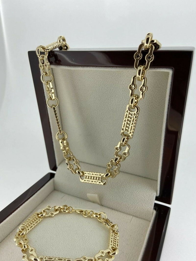 Set 24 Inch Gold Stars and Bars Chain and Bracelet-Chain-sell4profituk-Bling King