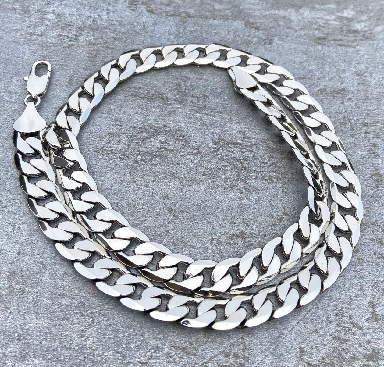 12mm Silver Curb Cuban Chain-Chains-Bling King-24-inch-Bling King