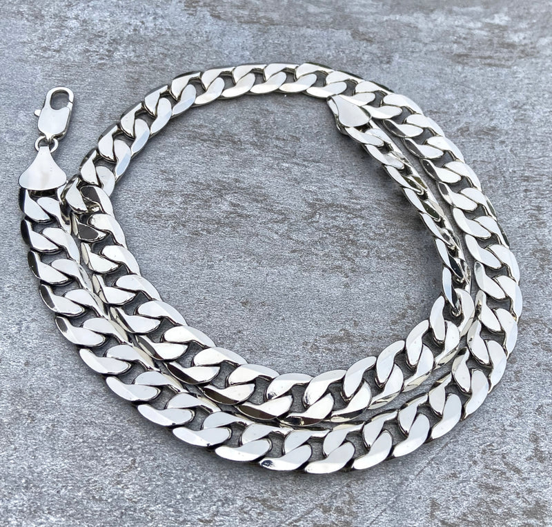 12mm Sterling Silver Filled Curb Cuban Chain-Chains-Bling King-24-inch-Bling King