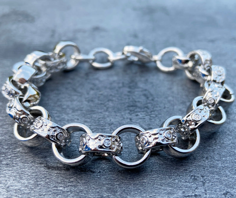 12mm Silver Crystal Pattern Belcher Bracelet Big Links