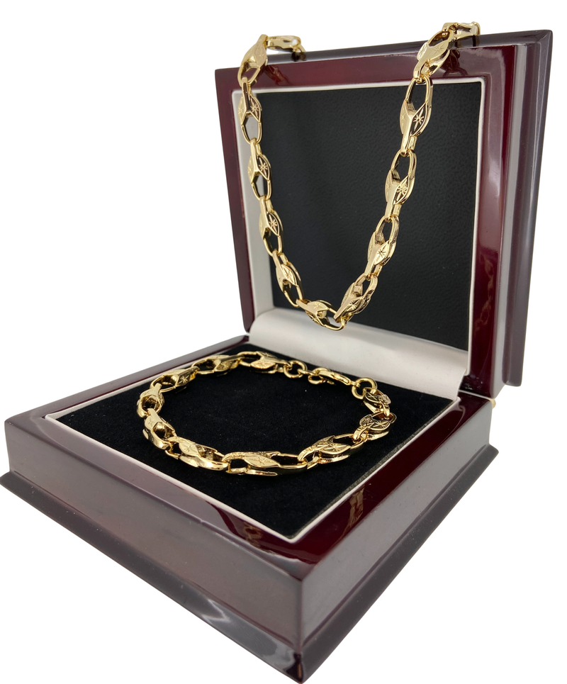 Set Gold Tulip Chain and Bracelet-Chain-Bling King-Bling King