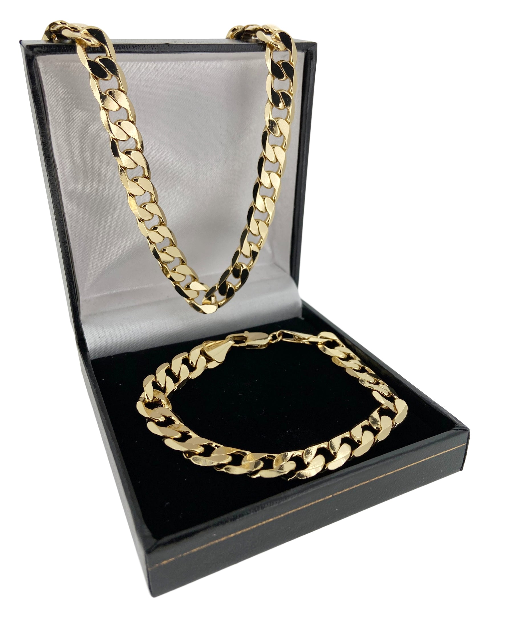 Set 9mm Gold Cuban Chain and Bracelet-Chains-Bling King-Bling King