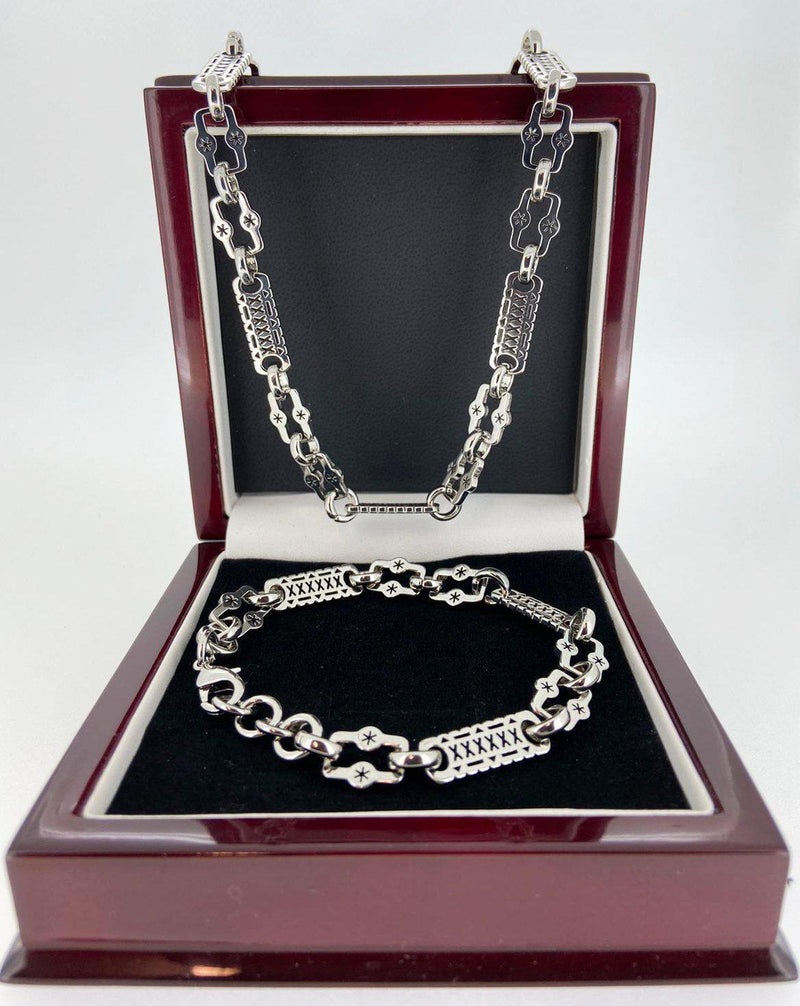 Silver Stars and Bars Chain and Bracelet Set-Chain-sell4profituk-Bling King