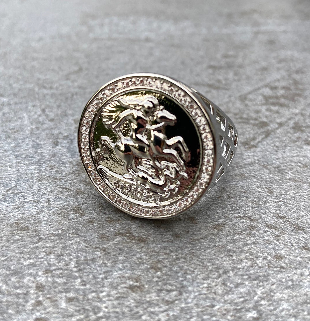 Silver St George Sovereign Ring with Crystal Stones-Rings-The Bling King-Bling King