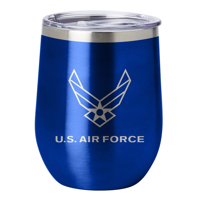 PURE Drinkware 12 oz Stemless Wine Glass - Air Force (Blue) - UNIFORMED®