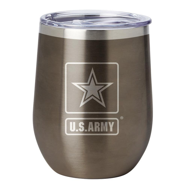 PURE Drinkware 12 oz Stemless Wine Glass - Army (Gunmetal) - UNIFORMED®