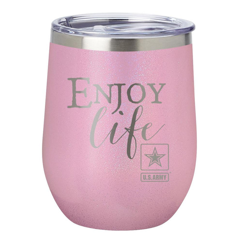 "PURE Drinkware 12 oz Stemless Wine Glass - Army, ""Enjoy Life"" (Pink) - UNIFORMED®"