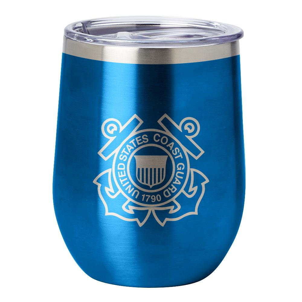 PURE Drinkware 12 oz Stemless Wine Glass - Coast Guard (Water Blue) - UNIFORMED®