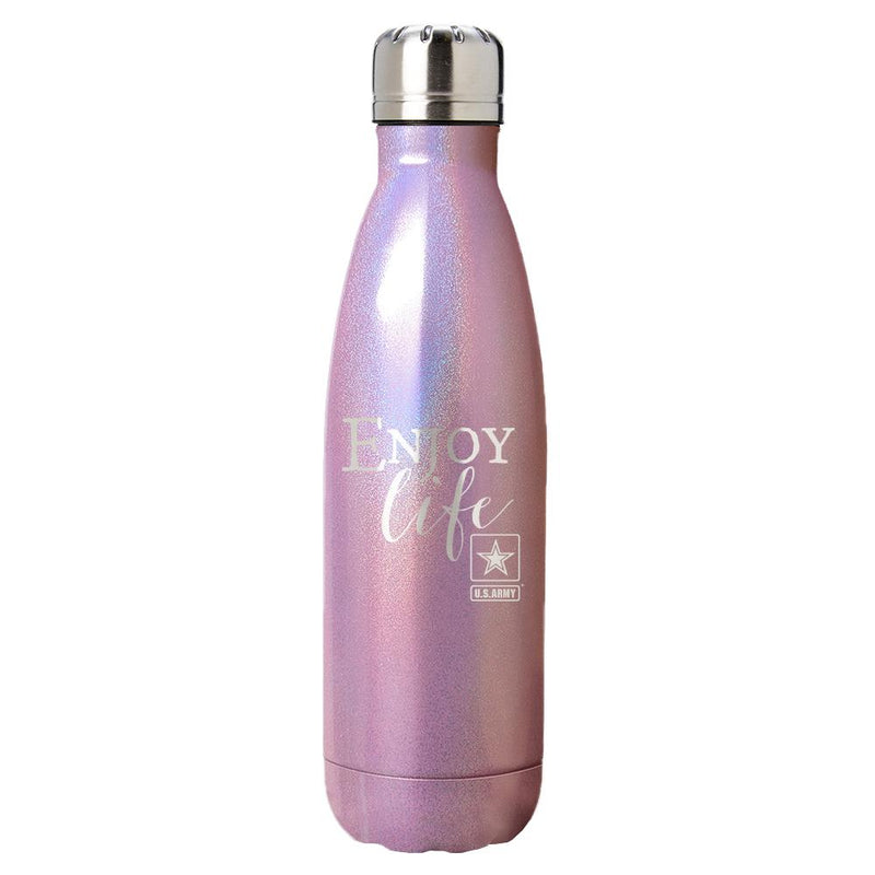 "PURE Drinkware 17 oz Bottle - Army, ""Enjoy Life"" (Pink) - UNIFORMED®"