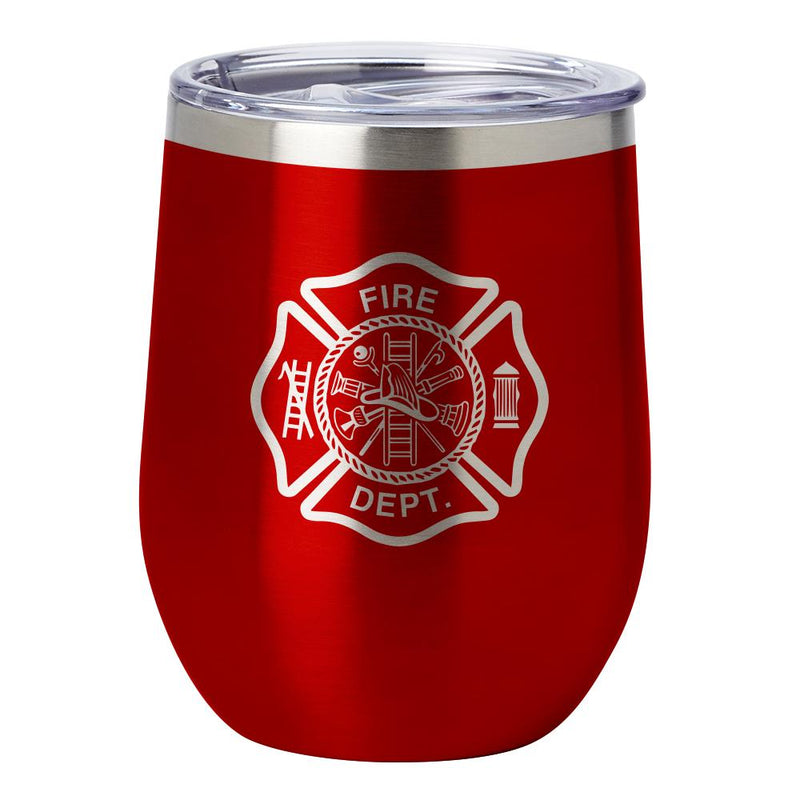 PURE Drinkware 12 oz Stemless Wine Glass - Fire Department (Red) - UNIFORMED®