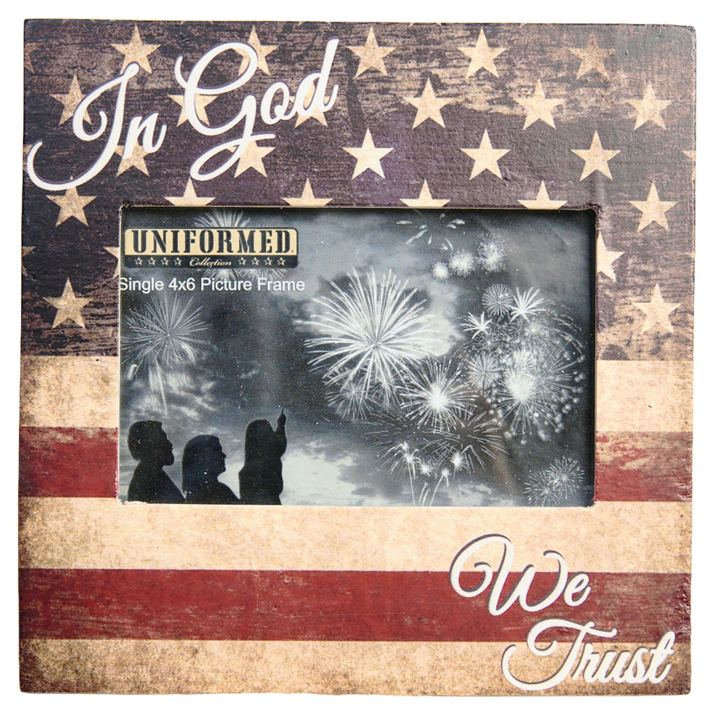 8x8 American Flag Frame w/ In God We Trust print. Holds single 4x6 photo - UNIFORMED®