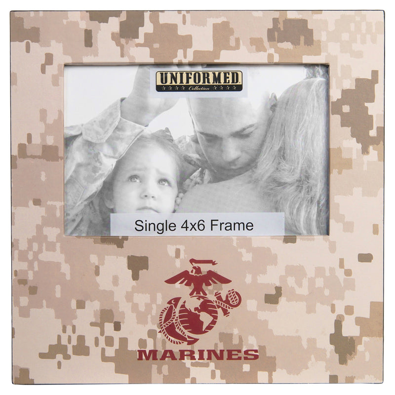 MARINE DESERT PRINT FRAME WITH EGA AND MARINES - WOOD FRAME - 8X8 HOLDS SINGLE 4X6 PHOTO - UNIFORMED®