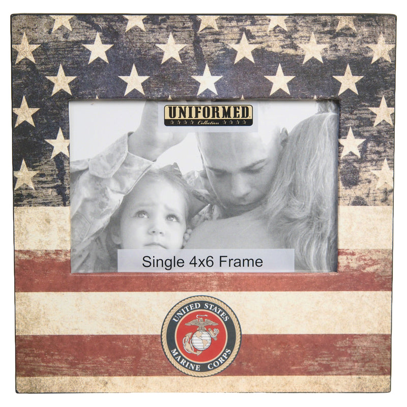 US MARINE FRAME WITH AMERICAN FLAG AND MARINE EMBLEM. HOLDS SINGLE 4X6 PHOTO - UNIFORMED®
