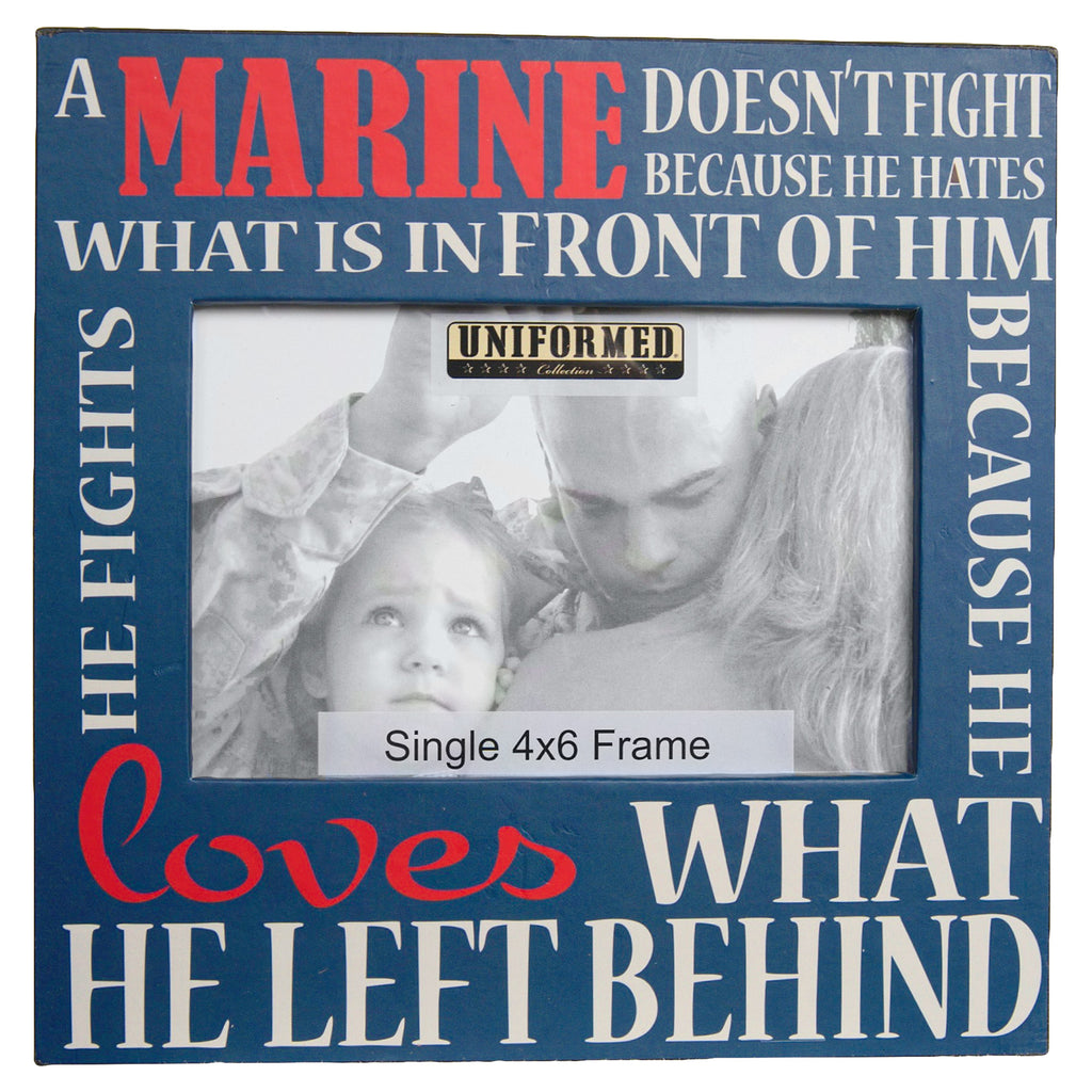 US MARINE SOLID BLUE FRAME WITH ALL OVER PRINT. HOLDS SINGLE 4X6 PHOTO - UNIFORMED®