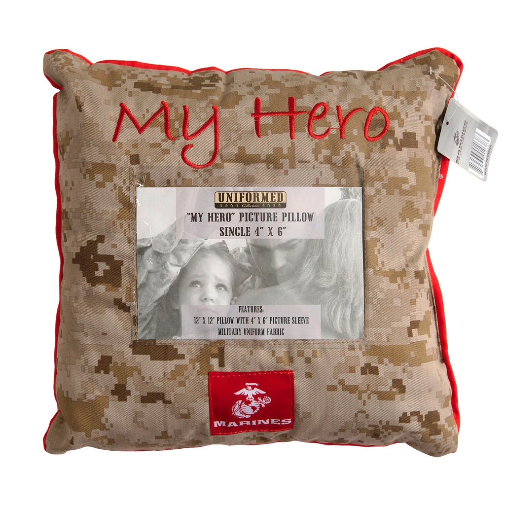 MY HERO 12x12 Marine Corps Picture Pillow (holds single 4x6 photo) - UNIFORMED®