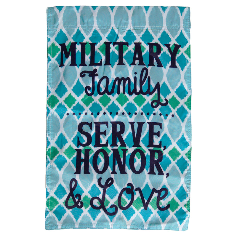 MILITARY FAMILY SERVE, HONOR & LOVE DOUBLE SIDED 13 x 18 GARDEN FLAG - UNIFORMED®