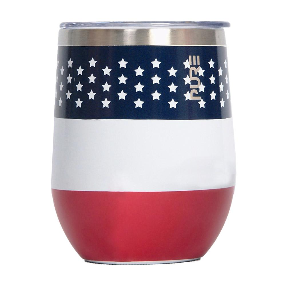 PURE Drinkware 12 oz Stemless Wine Glass - US Flag - UNIFORMED®