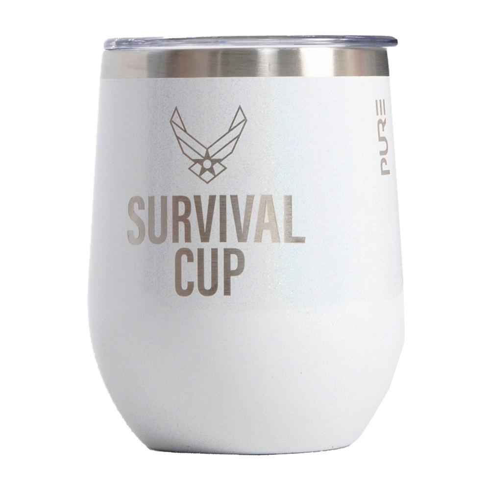 PURE Drinkware 12 oz Stemless Wine Glass - Air Force Survival Cup (White) - UNIFORMED®