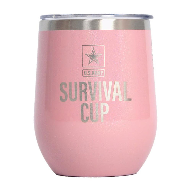 PURE Drinkware 12 oz Stemless Wine Glass - Army Survival Cup (Pink) - UNIFORMED®