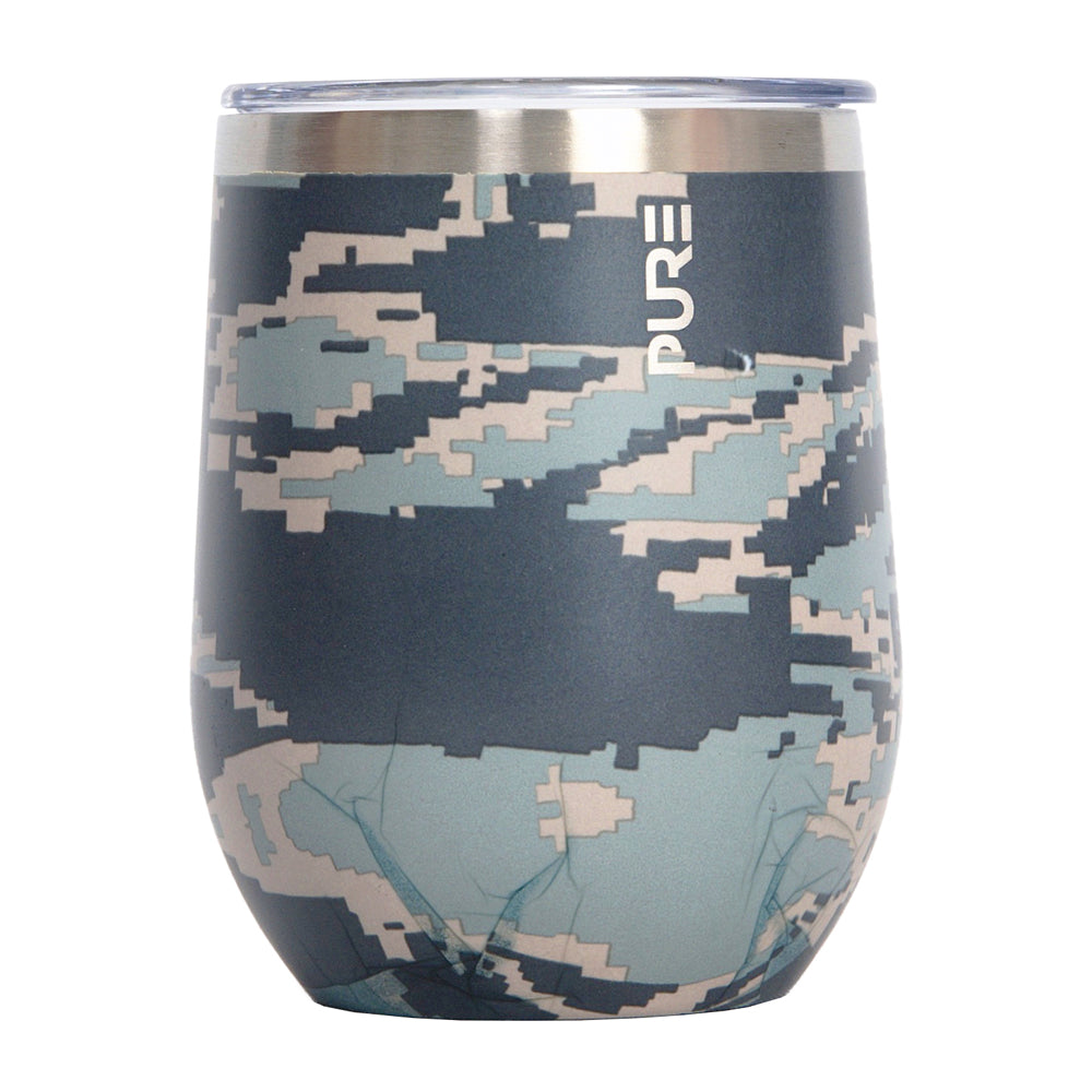 PURE Drinkware 12 oz Stemless Wine Glass - Air Force Camo - UNIFORMED®