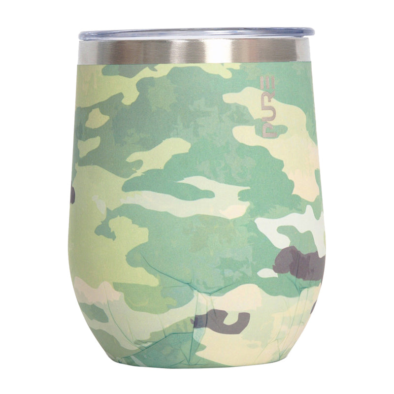 PURE Drinkware 12 oz Stemless Wine Glass - Army Camo - UNIFORMED®