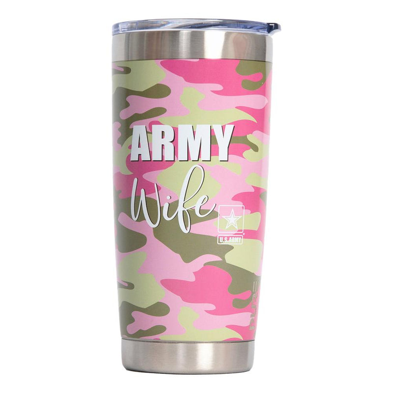 PURE Drinkware 22 oz Tumbler - Army Wife (Pink Camo) - UNIFORMED®
