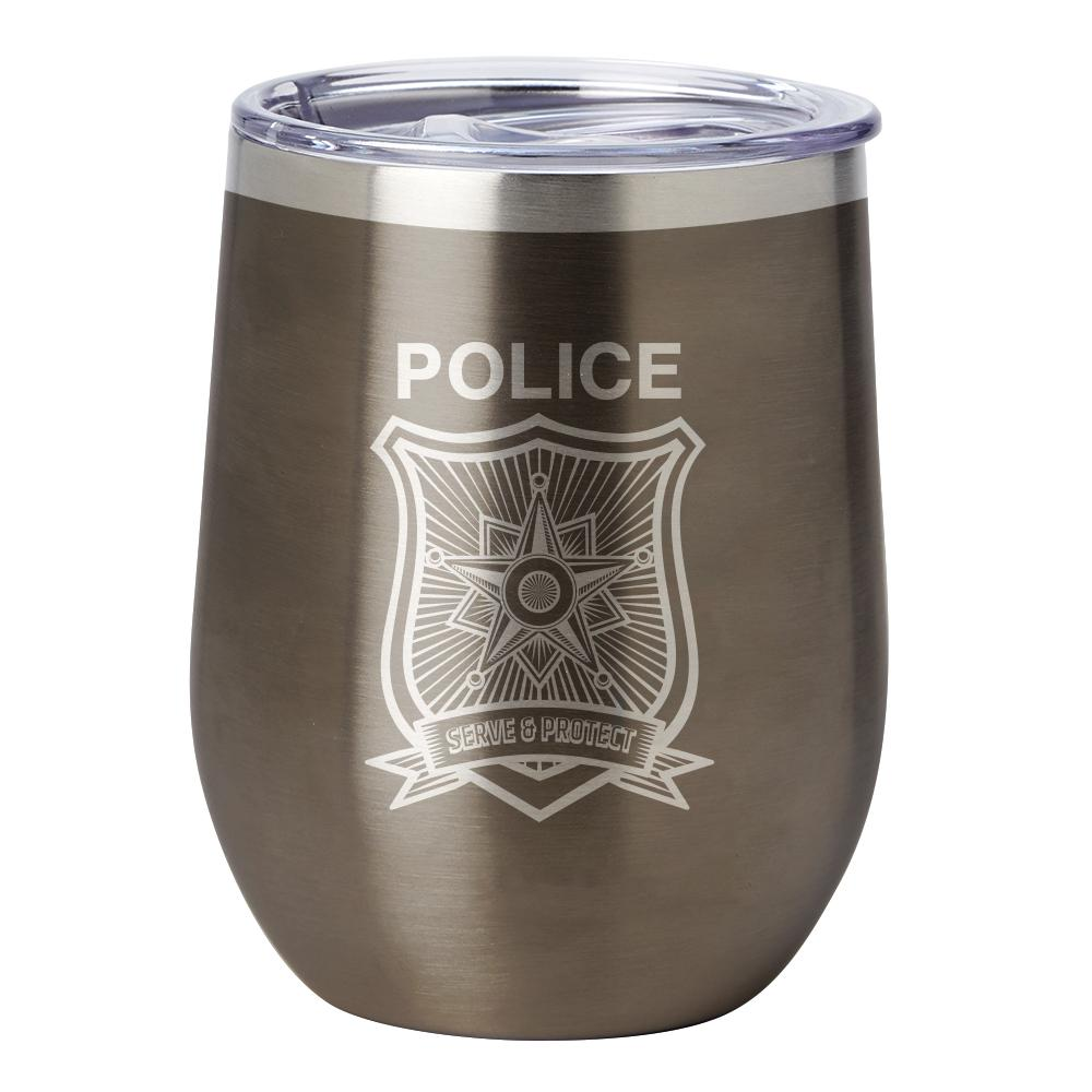 PURE Drinkware 12 oz Stemless Wine Glass - Police Department (Police Grey) - UNIFORMED®