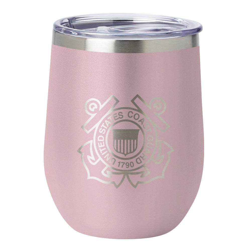 PURE Drinkware 12 oz Stemless Wine Glass - Coast Guard (Candy Blush) - UNIFORMED®