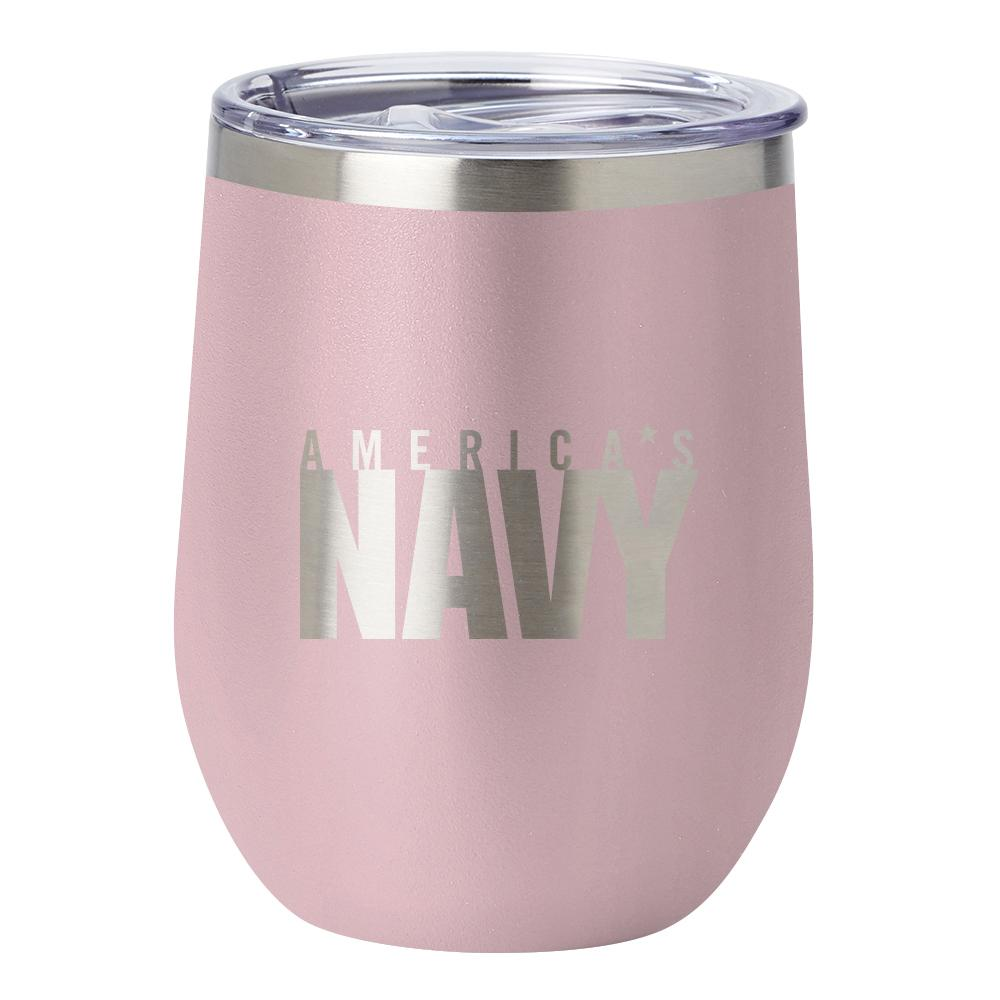 PURE Drinkware 12 oz Stemless Wine Glass - US Navy (Candy Blush) - UNIFORMED®
