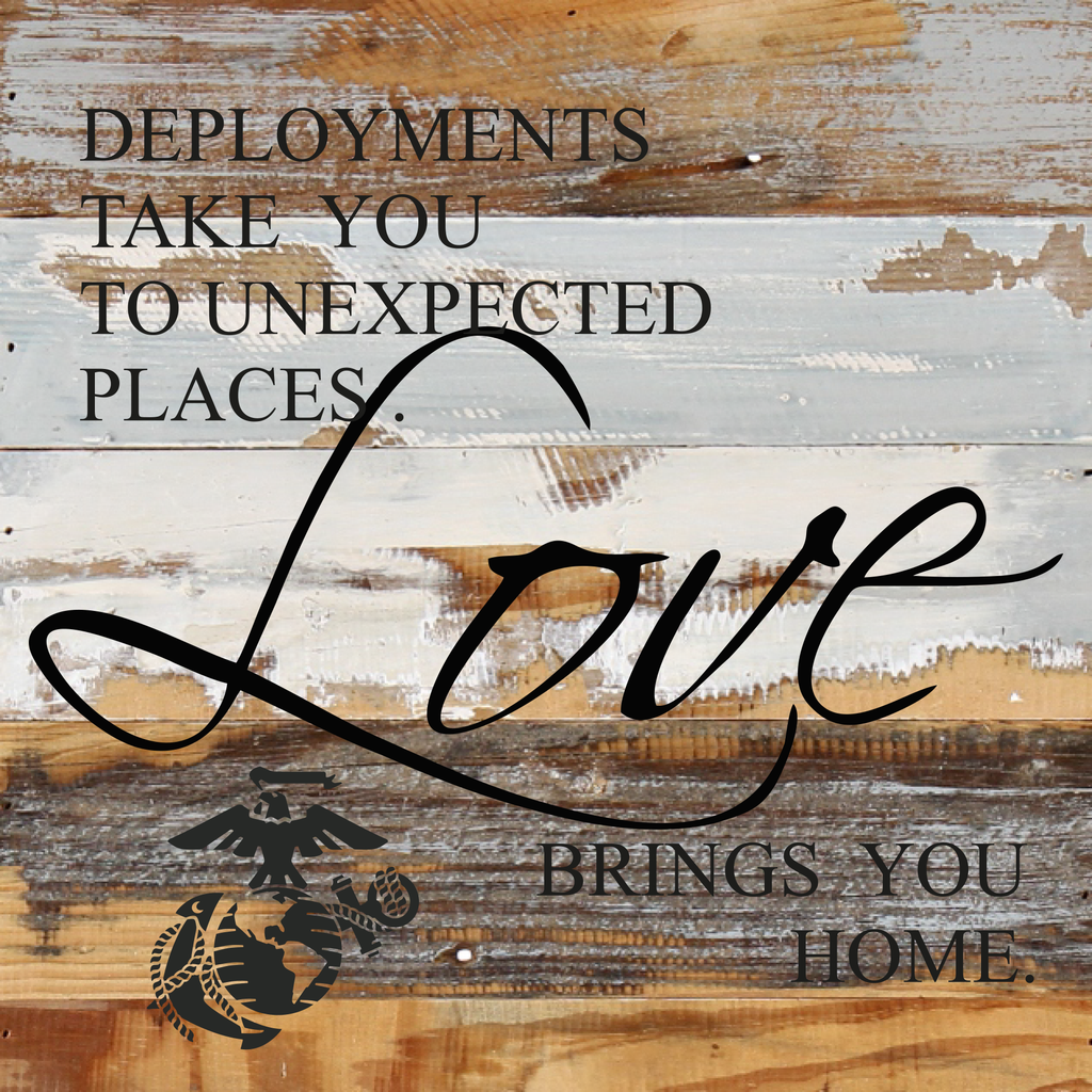 12x12 LOVE BRINGS YOU HOME WOOD SIGN - MARINES - UNIFORMED®