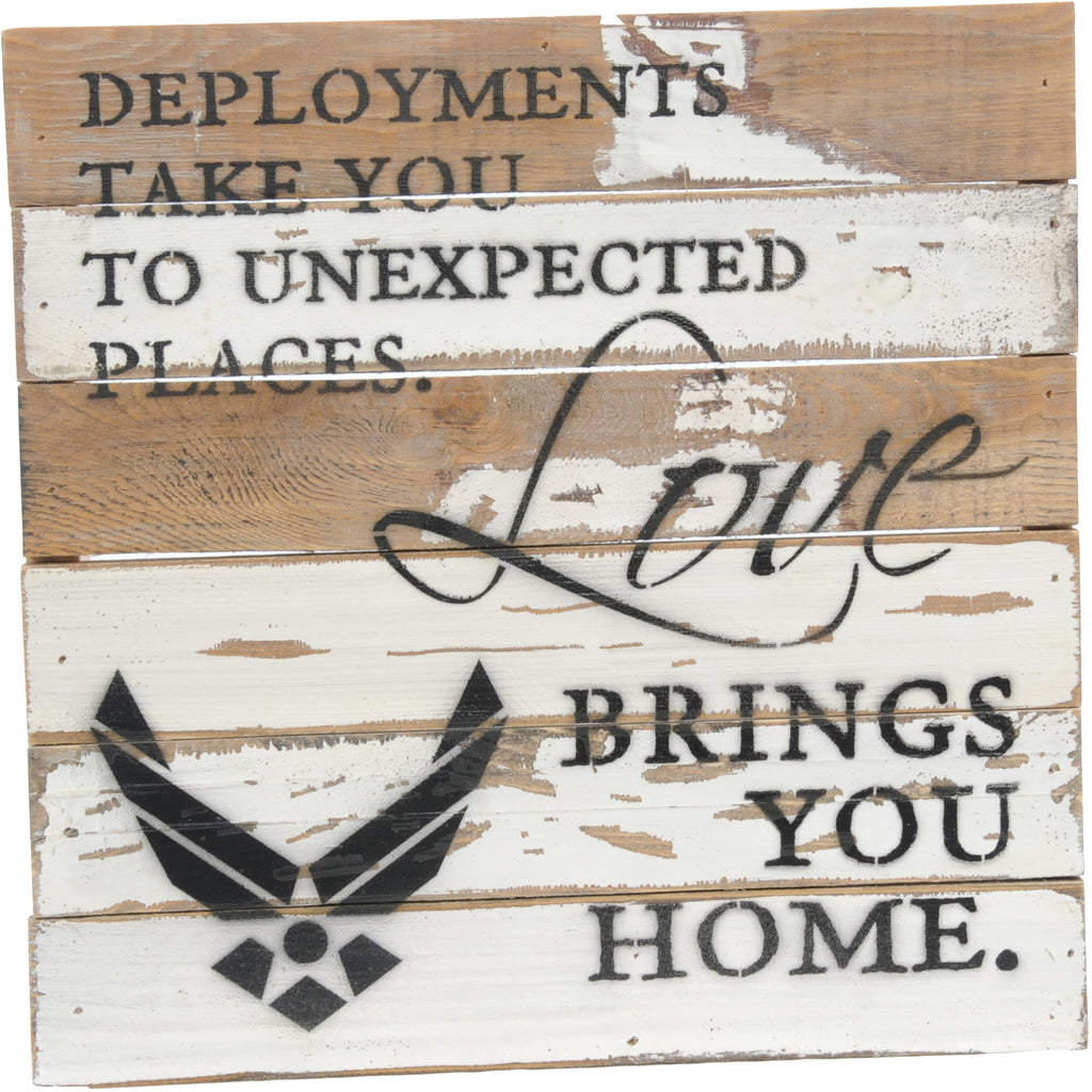 12x12 LOVE BRINGS YOU HOME WOOD SIGN - AIR FORCE - UNIFORMED®