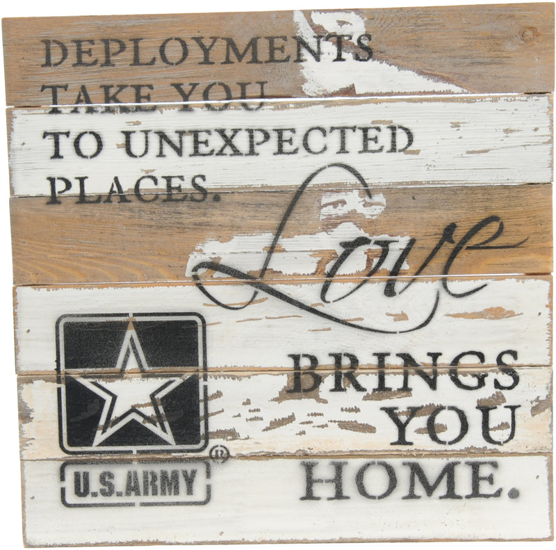 12x12 LOVE BRINGS YOU HOME WOOD SIGN - ARMY - UNIFORMED®