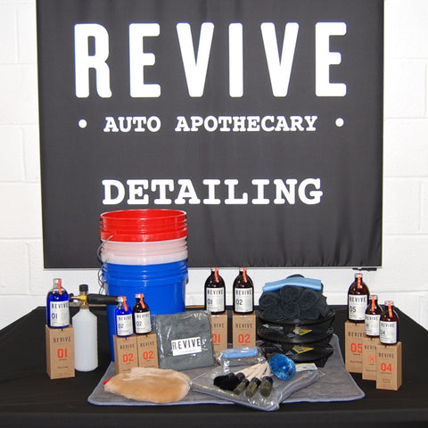 REVIVE detailing starter kit, enthusiast level, comprises accessories, products, buckets/grit guards, snow foam lance - all you need in one purchase!