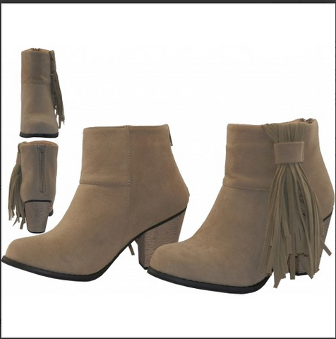 Suede 2½ Inches Heel &  Fringe Ankle High Boots