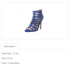 Cobalt Blue High Heel Ankle Height Sandals