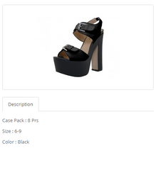 Black Hi-Heel Angle Strip Sandals