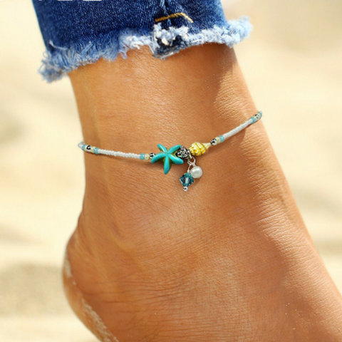 Sea Star & Conch Shell Anklet