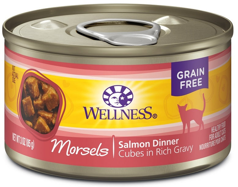 Wellness Grain Free Natural Salmon Morsels Dinner Wet Canned Cat Food