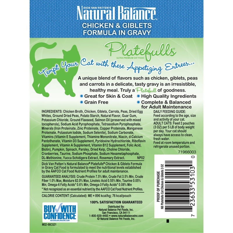 Natural Balance Platefulls Regular Grain Free Chicken and Giblets in Gravy Cat Pouch Wet Cat Food Pouch Wet Cat Food