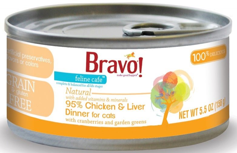 Bravo! Feline Cafe Grain Free 95% Chicken and Liver Dinner Canned Cat Food