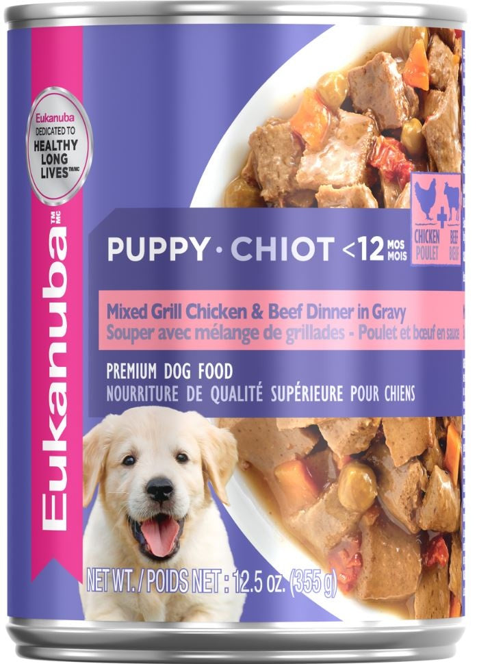 Eukanuba Puppy Mixed Grill Beef and Chicken Dinner in Gravy Canned Dog Food