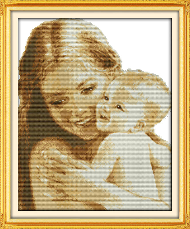 """Mommy and baby"" cross stitch / Punto de cruz ""Mamá y bebé"""