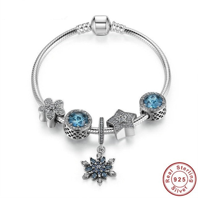 Classic, Snake Chain Bracelet with SnowFlake, Blue Radiant Hearts Charms, 925 Silver, CZ