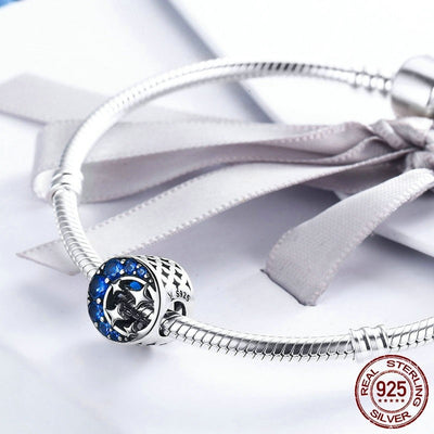 Wonderful Night, Moon & Stars Charm, 925 Silver, CZ