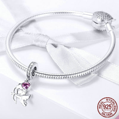Cupid Heart Love Dangle Charm, 925 Silver with Pink CZ