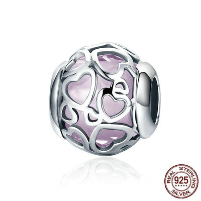 ENCASED IN LOVE HEART CHARM, 925 Silver, Enamel