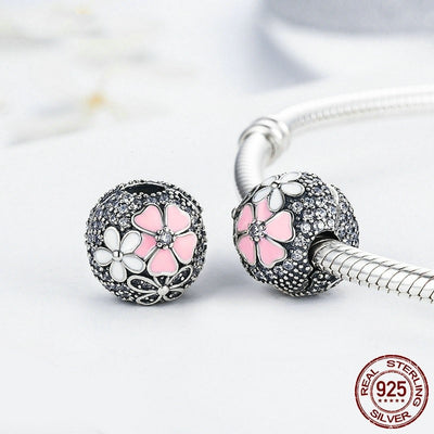 Poetic Blooms Clip Charm, 925 Silver with Pink Enamel