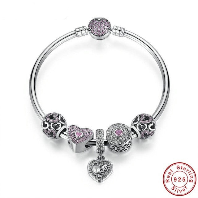 Bangle, Mom Sweetheart Charmed Bracelet, 925 Silver, CZ