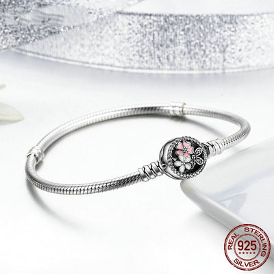 Poetic Blooms, Enamels and Clear CZ, 925 Silver Snake Chain Charm Bracelet