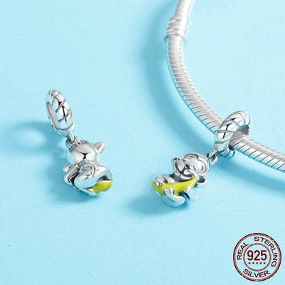 Cute Monkey with Banana Charm, 925 Silver, Yellow Enamel